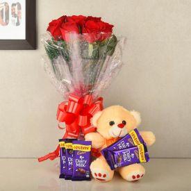 Red Rose,Cadbury Dairy Milk & Soft toy.